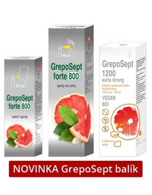 GrepoSept 800 ústny sprej 25ml • GrepoSept 800 sprej na nohy 100ml • GrepoSept 1200 Extra Strong 50ml